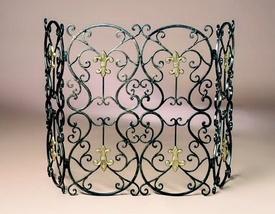 bronze iron with brass medallions fleur de lis fireplace screen x fireplace screens. Black Bedroom Furniture Sets. Home Design Ideas