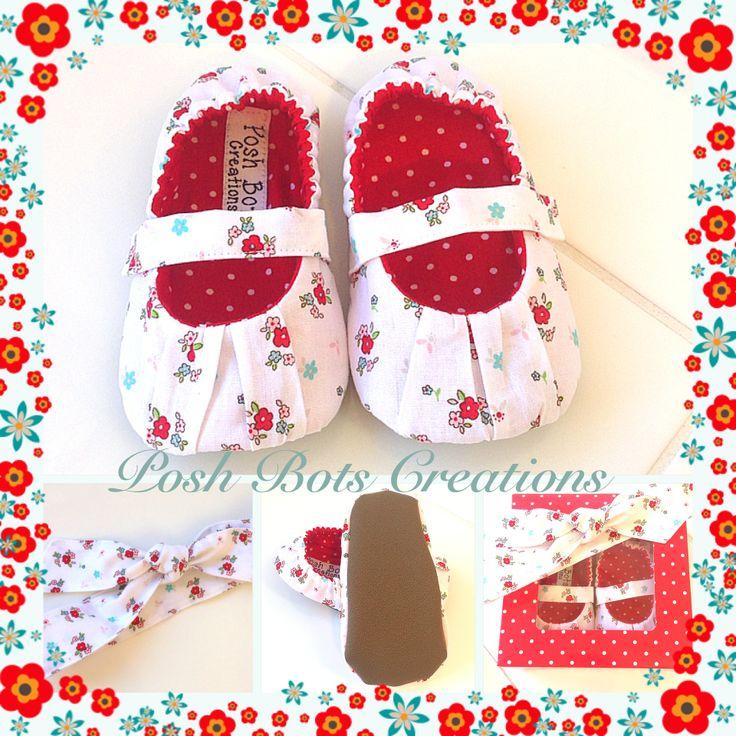 A gorgeous shoe & headband gift set available from www.facebook.com/poshbotscreations #handmade #fabricshoes # babyshoes #headband