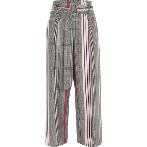 River Island Pink check stripe ring tie belt culottes ($84) ❤ liked on Polyvore featuring pants, capris, trousers, pink, wide leg trousers, women, tall wide leg pants, striped pants, zipper pants and white pants
