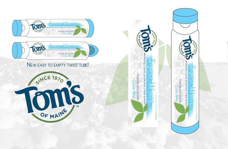 Tom's Toothpaste is a package redesign. You are able to use all of the product by turning the bottom of container. Once turned the paste moves up the container, ensures you get maximum use.