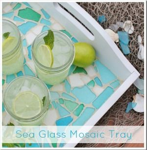 Sea Glass Mosaic Tray - Sand. Going to do this on the tray(tiles) didn't work