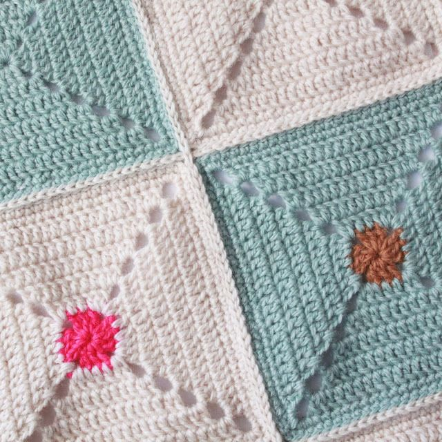Flat chain stitch join for a squares blanket - Lutter Idyll