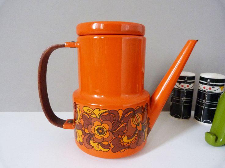 Vintage orange enamel coffee pot https://etsy.me/2IaCnzj