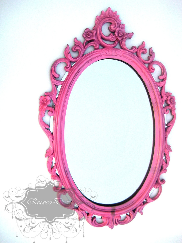 hollywood regency vintage mirror hot pink ornate mirror