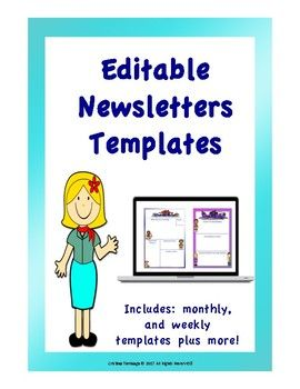 These editable newsletters templates are a great way to keep your students and parents updated and on track on what is going on in the classroom. It is also a great way of communication. You could also customise as blank newsletter templates are provided.These include:Monthly Newsletter TemplateWeekly Newsletter TemplateParent Newsletter TemplateMeet the Teacher Newsletter TemplateMonthly Calendar TemplateThe format is in powerpoint and the newsletters are in PNG format so you can edit.