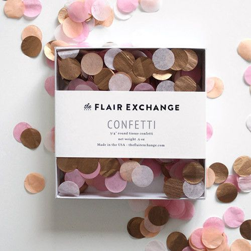 Hand-cut confetti to match our tassel garland kits perfectly. Our confetti is hand-cut and each box is filled and sealed for you. Colors: SORBET (Peach, Blush, Dark Pink, Metallic Rose Gold) - .5 oz p