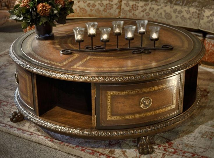 Living Room Antique Round Coffee Table With Claw Foot