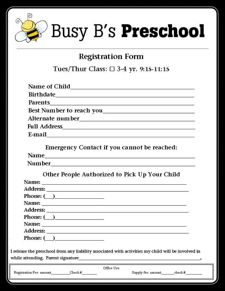 Busy B's Preschool: Registration Form