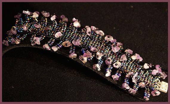 Iris Purple & Amethyst 'Sea Urchin' Bracelet by SamMadeWithLove, $35.00