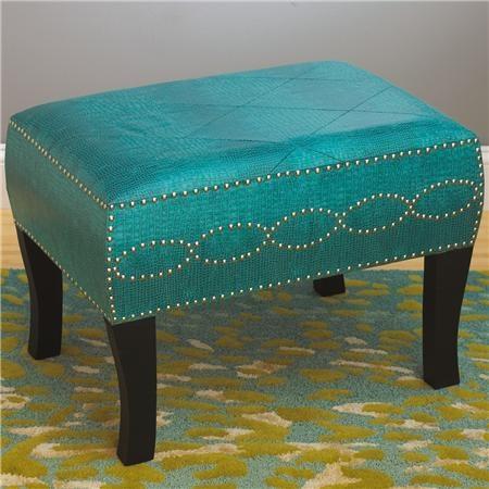 Turquoise Alligator Footstool Bright Turquoise Faux