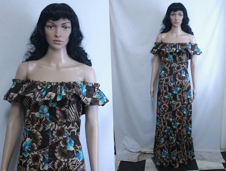 Vintage 50s Hawaiian Dress / Off The Shoulder Dress/ Long Luau Dress / Tiki…