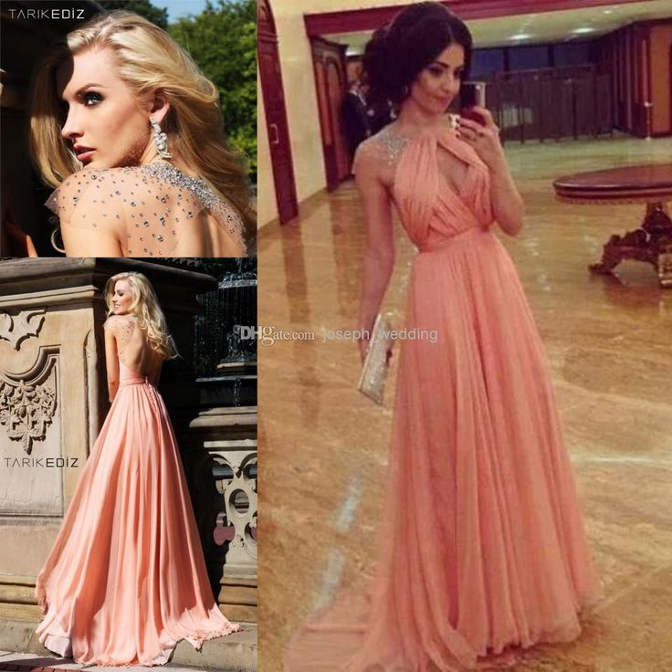 Stunning Unique Design Sexy Halter Rhinestone Chiffon Peach Color Long Prom Dress Women Free Shipping WH425