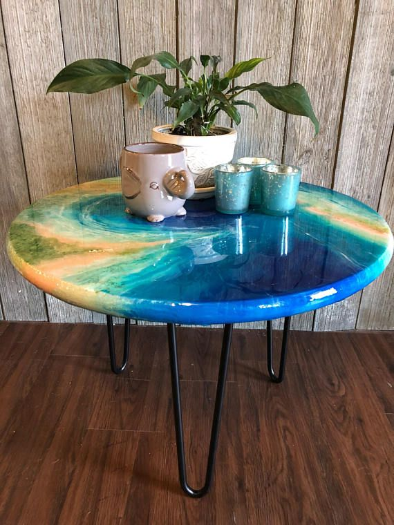 Ocean Painting As Coffee Table. Resin Pour Painting Table Top With Hairpin Legs. Mid-Centruy Modern. Artsy. Ocean Chic