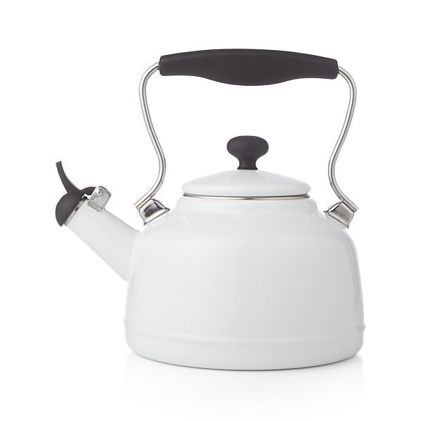http://www.phomz.com/category/Kettle/ Vintage White Steel Enamel Tea Kettle | Crate and Barrel