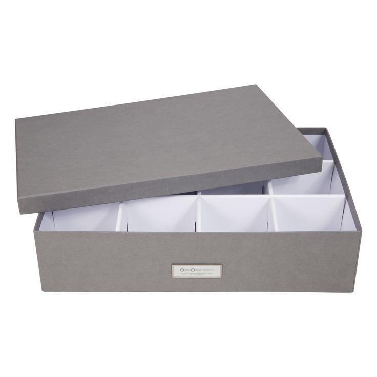 Förvaringsbox, JAKOB, Låda för sortering, 12 fack, Grå