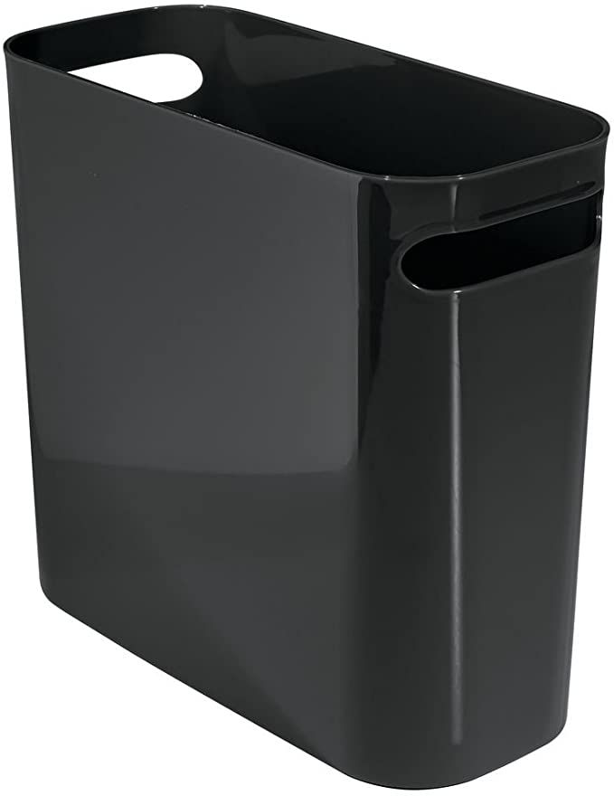 Amazon Com Mdesign Slim Plastic Rectangular Small Trash Can Wastebasket Garbage Container Bin With Handles For In 2020 Waste Basket Trash Can Trash And Recycling Bin