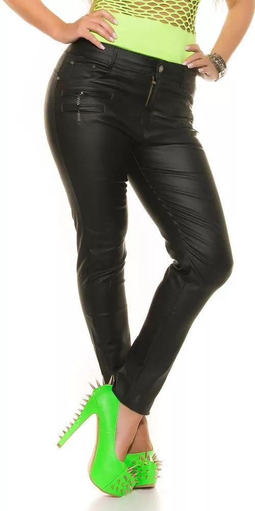 Dámské trendy kalhoty imitující kůži