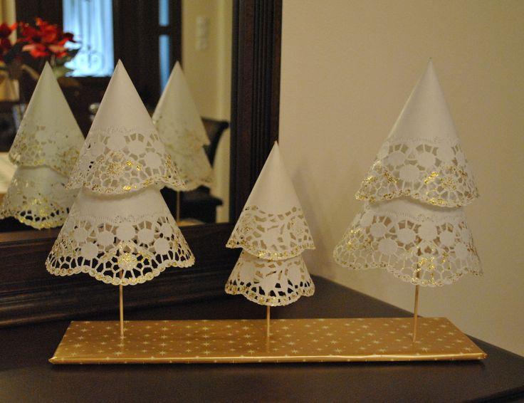 Handmade trees from doillies