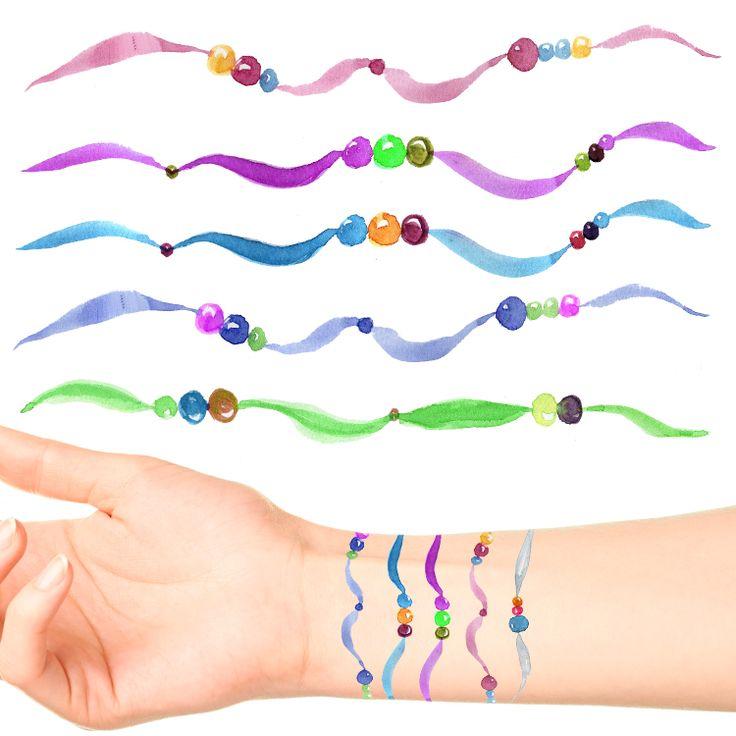 Ribbon & Bead Bracelet Tattoos (57 pack) #584