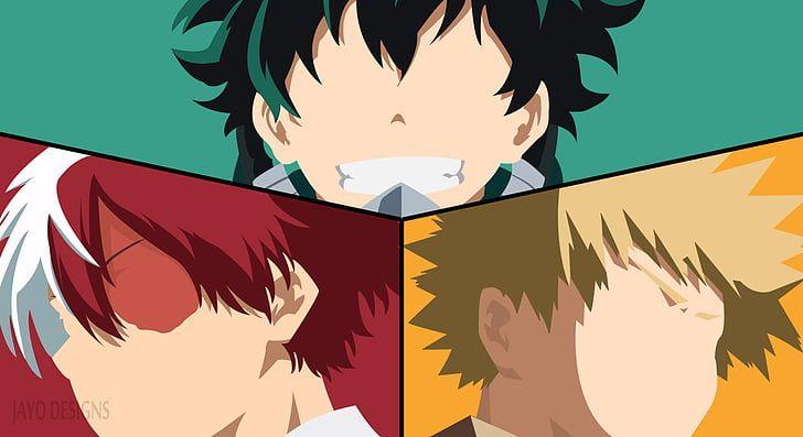 Hd Wallpaper Anime My Hero Academia Izuku Midoriya Katsuki Bakugou Shoto Todoroki Wallpaper Flare Anime Canvas Anime My Hero Academia