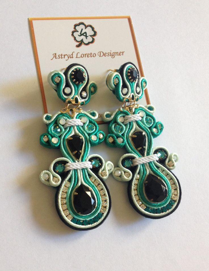 Soutache Earrings. Austriac & Strass crystals. Handmade.