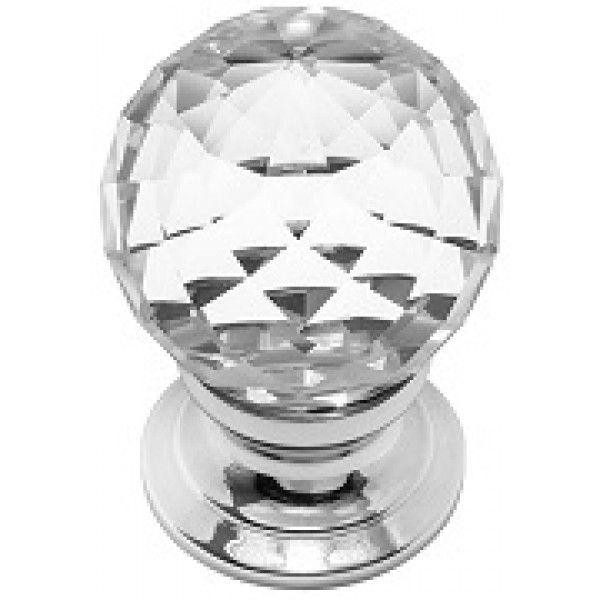 Cut Glass Cabinet Knob - Chrome Base 25mm