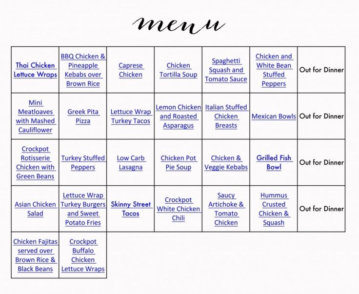 Healthy Printable Monthly Menu & Grocery List.  Complete with links to the recipes for easy access