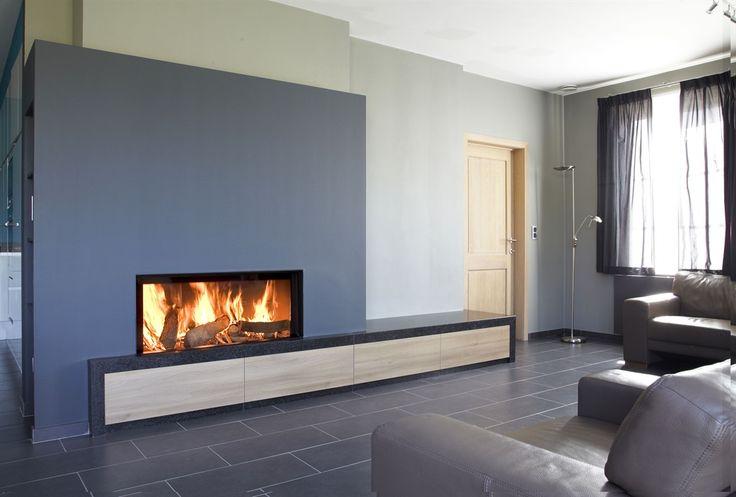 M-Design houtgestookte liftdeurhaard Luna Gold+ - open haarden ideeën #houthaard #inbouwhaard #liftdeurhaard #haarden