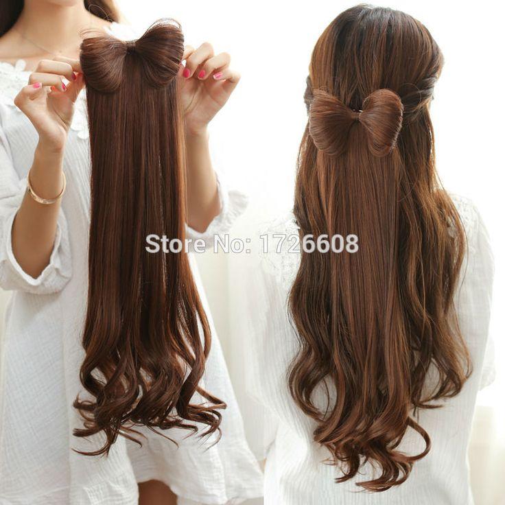 Frauen Synthetische Bogen Haarverlängerung Bowknot Clip Mode Hairpiece Schönheit Haar-accessoire Erwachsene Haarbögen Lockige Pferdeschwanz Halter