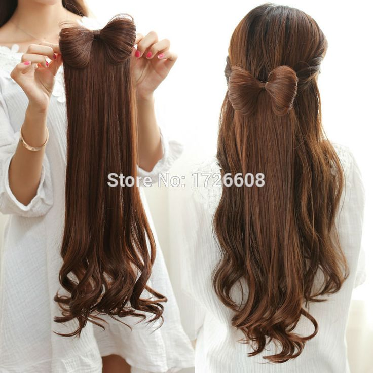 Women Synthetic Bow Hair Extension Bowknot Clip Fashion Hairpiece Beauty Hair Accessory Adult Hair Bows Curly Ponytail Holder