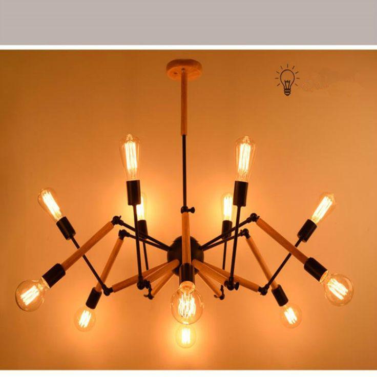 Nordic Wooden Pendant Lamps Modern Light Lamp Wood Metal Dining Room Spider Light Loft Iron Cafe Bar Hanglamp Spider Lights #Affiliate