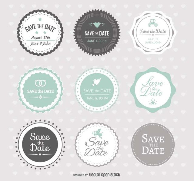 Set of 9 save the date wedding badges in mint and grey colors in a hipster style, to finish your wedding invitation and make it look great. High quality