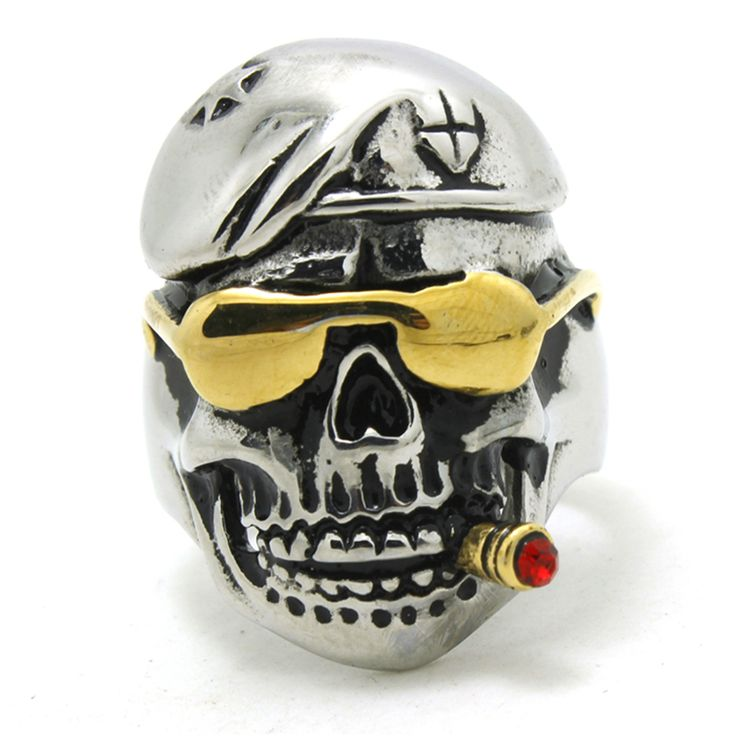 316L Stainless Steel Cool Punk Gothic Golden Pirate Skull Smoke Person Newest Ring