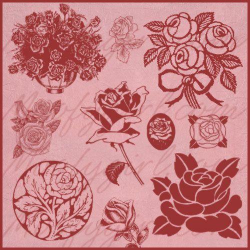 Roses Rose Photoshop Brushes Brush Set by moofygirl on Etsy, $2.99