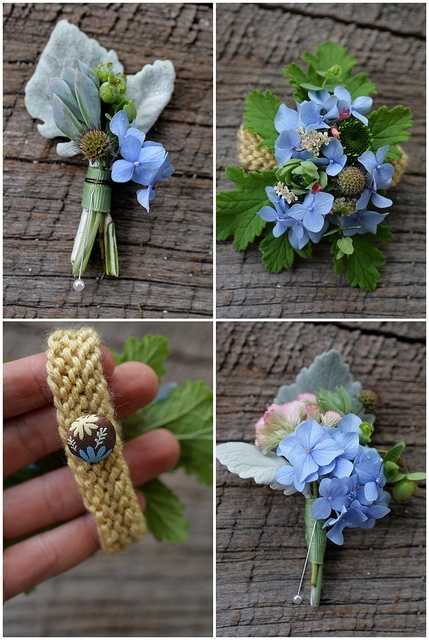 Blue hydrangeas corsages and boutineers  I like these just don't think all of the blue, maybe cream orange and black?