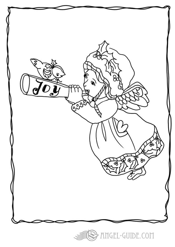 Angel Coloring Pages - Angel with Trumpet 1 A little angel of joy sounding his sweet melody , carrying a little love heart to spread some joy for the festive season for our german visitors : kostenlose Malvorlagen mit Engeln, Weihnachtsausmalbilder fuer Kinder zum Herunterladen Ausmalbild mit Engel zum Weihnachtsbasteln, Bastelvorlage, Engel Vorlage zum ausdrucken