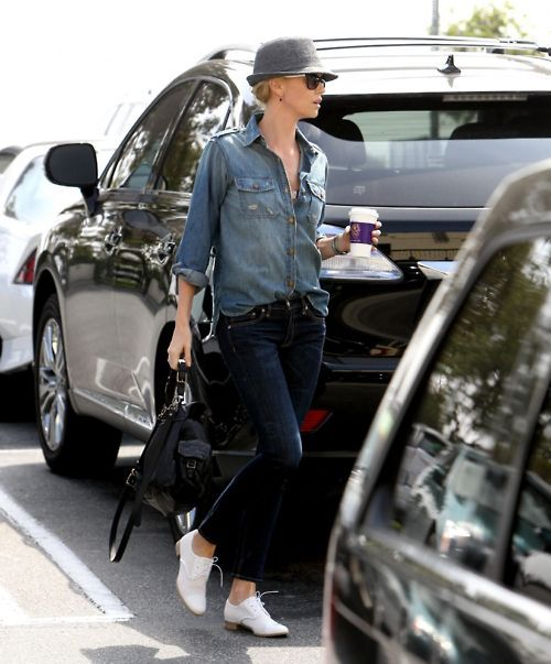 Denim on denim: pair a medium-wash shirt with a jeans that's a shade or two darker. #Charlize_Theron