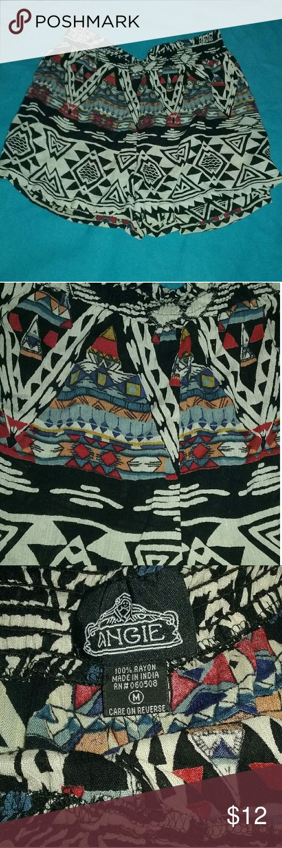 Angie Aztec Print Shorts Cute, fun Aztec print shorts with elasticated waist.   Fabric 100% rayon Angie Shorts Bermudas