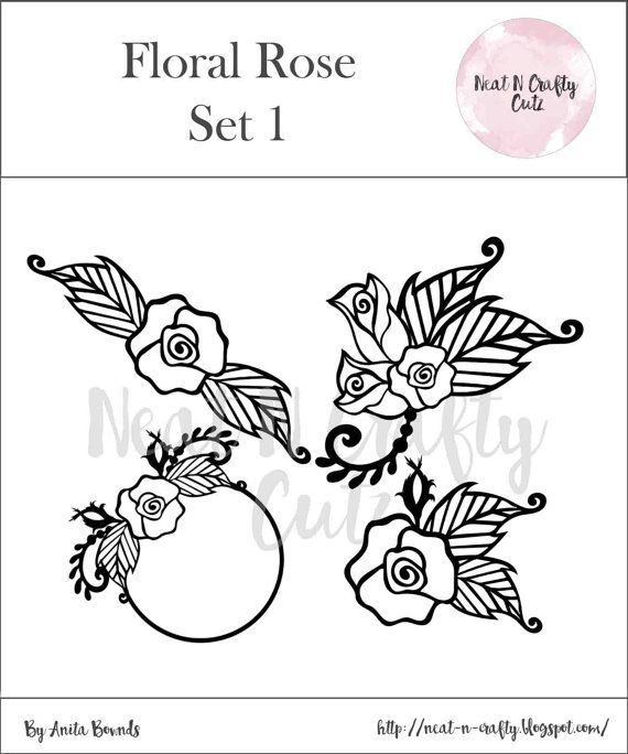 Floral rose Set 1 cut file. For scrapbooking and paper crafting