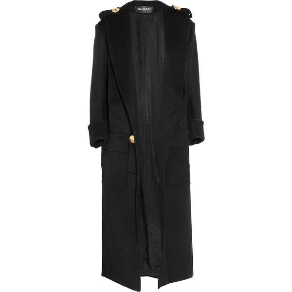 Balmain Wool coat (6 340 BGN) ❤ liked on Polyvore featuring outerwear, coats, jackets, balmain, coats & jackets, black, double-breasted wool coat, wool coat, balmain coat and double breasted woolen coat