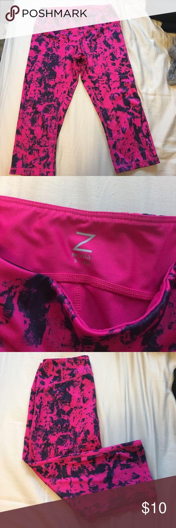 Printed gym capris Pink and blue/black printed exercise Capri leggings Zella Pants Leggings