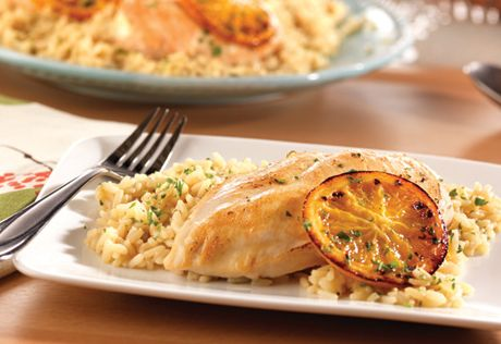 Citrus Chicken and Rice----I fried this in garlic and olive oil and marinated the chicken  in additional orange juice before frying