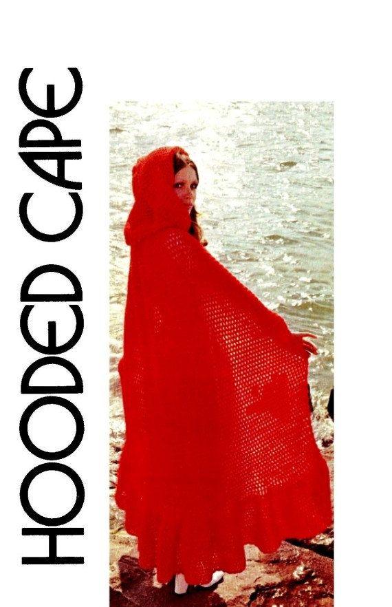 Vintage 70s Crochet Hooded CAPE Killarney Cloak by KinsieWoolShop, $3.20