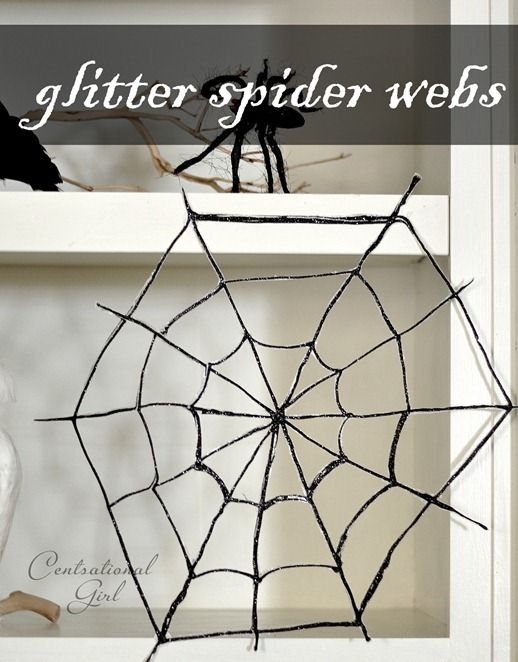 Make a glittery spider web for free, or just a few dollars.  Dollar store crafting at its finest!