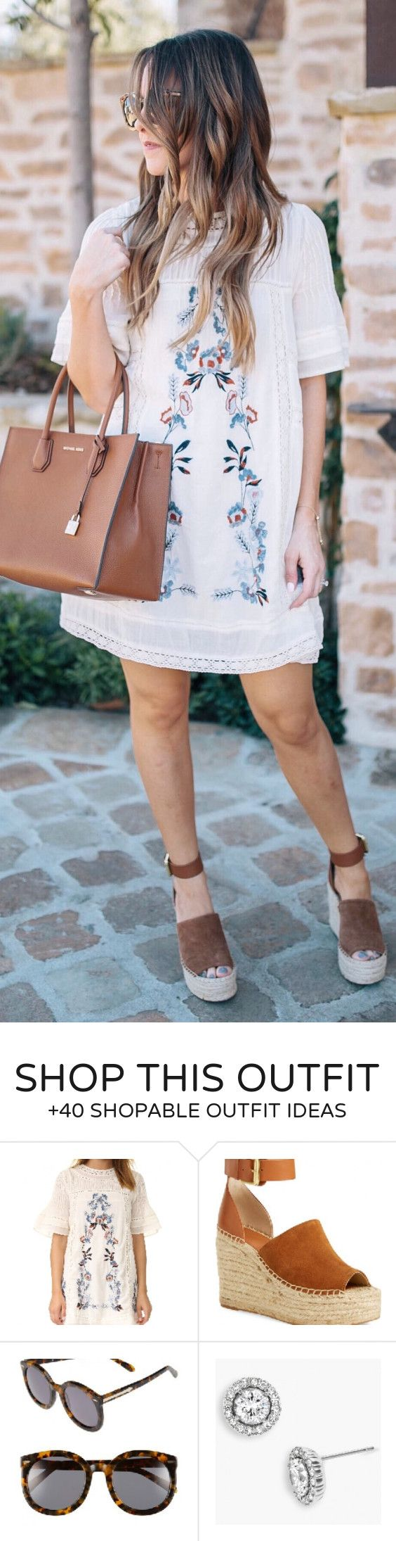 #summer #outfits  White Printed Dress + Brown Leather Tote Bag + Brown Wedge
