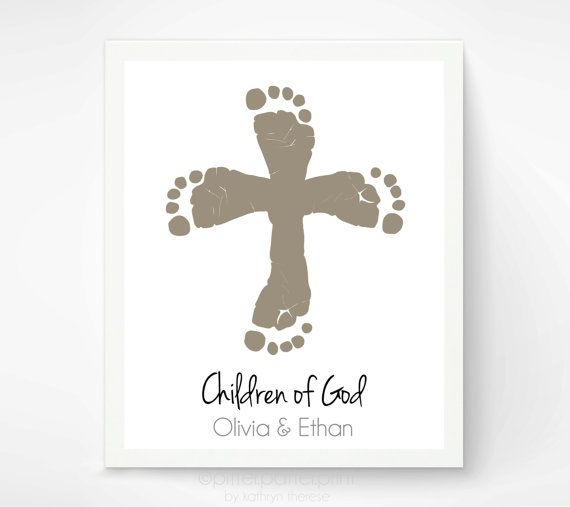 Christian Nursery Art Print - Twins Cross Baby Footprint Art - Personalized Baptism Christening Gift - Child of God Wall Art - Sibling Art on Etsy, $40.00