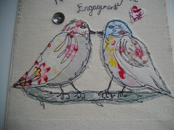 Engagement Card, love birds, textile card , machine embroidered card. Sew sweet by suzanne