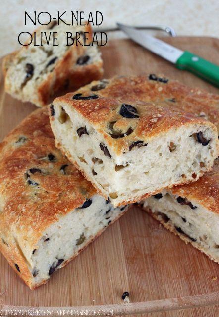 No-Knead Overnight Olive Bread