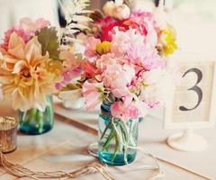 Flowery centerpieces.