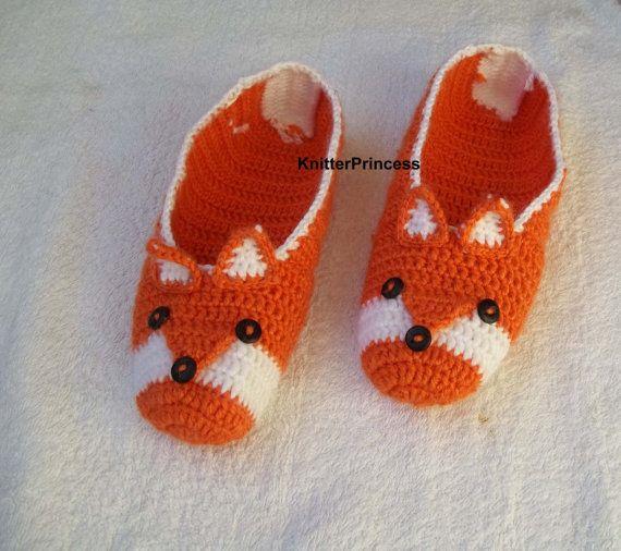 Fox slippers crochet fox slippers womens home by KnitterPrincess